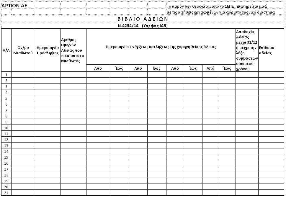 Οδηγίες χορήγησης αδείας και συμπλήρωσης βιβλίου αδειών